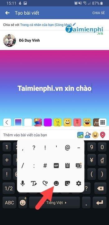 Cách viết icon Facebook trên điện thoại