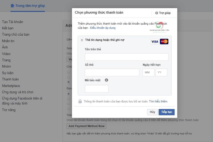 Phương thức thanh toán khi bị facebook từ chối
