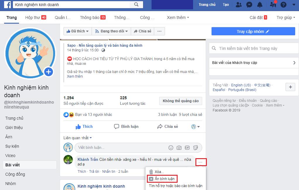 Kinh nghiệm ẩn comment trên facebook