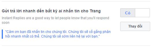 Tính năng trả lời nhanh trên fanpage Facebook